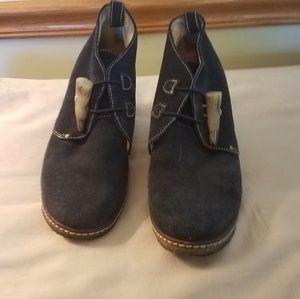 Johnston & Murphy blue suede wedge ankle boots 8